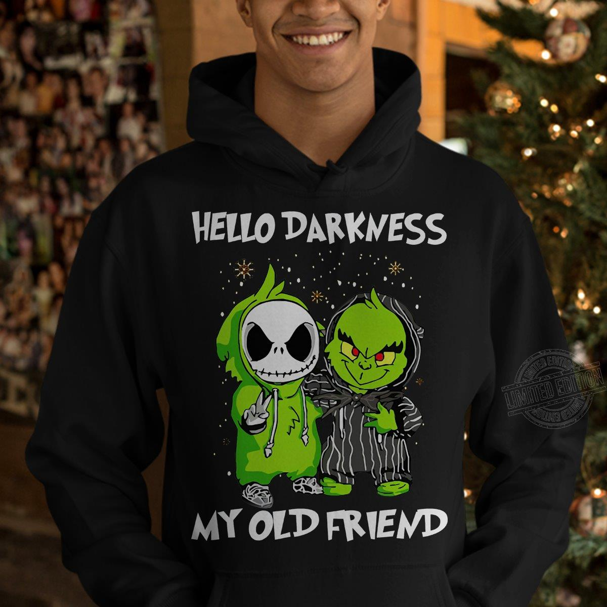 Merry Christmas Baby Jack Skellington And Grinch Hello Darkness My Old Friend Shirt